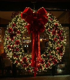 Gorgeous Christmas wreath. White lights and red flowers. Wreath like this to every door and the world will be more beautiful :-)