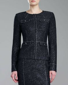 St. John Couture Shimmer Tweed Jacket, Caviar on shopstyle.com