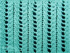 A very simple but elegant lace rib stitch. Knitted in a multiple of 6 sts, and 2-row repeat. Row 1: k2tog, k1, 2yo, k1, ssk; repeat from to end. Row 2: p3, p1 tbl, p2; repeat from to end. Knitting abbreviations: Knit: K   Purl: P   Purl through the back loop: P tbl Yarn over: Yo   Knit 2 sts together: K2tog   Slip slip knit: Ssk.