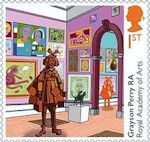 """Stamp: """"Summer Exhibition"""", by Grayson Perry RA (United Kingdom of Great Britain & Northern Ireland) Anniversary of the Royal Academy of Arts) Mi:GB 4893 Grayson Perry, Uk Stamps, Postage Stamps, Tracey Emin, Royal Academy Of Arts, Kingdom Of Great Britain, Commercial Art, Stamp Collecting, Art And Architecture"""