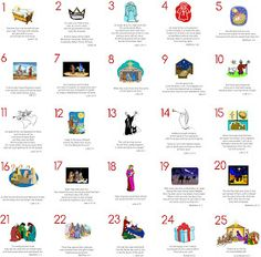 Scripture for each day in Advent. Printable pages.