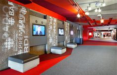 Entrance corridor of the Masion Radio-Canada providing interactive experiences.