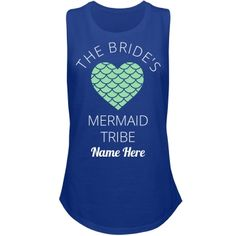 The Bride's Mermaid Tribe | Having an ocean-themed bachelorette party? Or maybe you and all of your friends were just meant to be mermaids. Either way, these tanks are the perfect accessory to your awesome bachelorette party. Snag a few and customize them with all of your names.