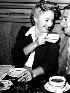 Barbara Stanwyck and Clifton Webb on the set of Titanic, 1953