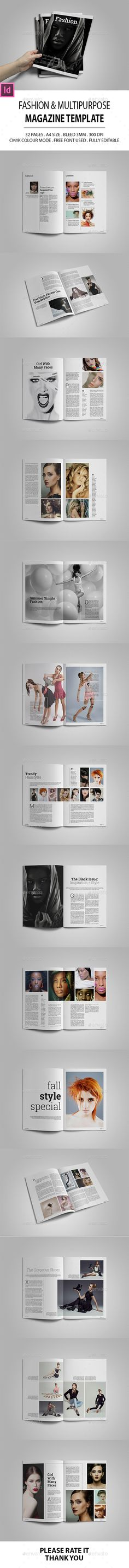 Fashion & Multipurpose Magazine Template InDesign INDD. Download here: http://graphicriver.net/item/fashion-multipurpose-magazine-template/16261129?ref=ksioks