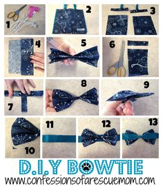 Step by Step Instructions on how to make the perfect DIY Pet Bowtie.
