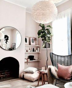 Home Interior Salas Textured living room.Home Interior Salas Textured living room Murs Roses, Living Room Decor, Living Spaces, Blush Living Room, Living Room Corners, Pink Living Rooms, Cute Living Room, Pink Room, Dusky Pink Bedroom