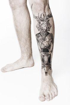 Mastodon - Blood Mountain shin tattoo by Rene Mannich, Slams Tattoo Nordhausen #mastodon #tattoo #bloodmountain #blackwork