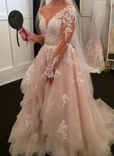 Essence of Australia TULLE WEDDING DRESS WITH ILLUSION LACE SLEEVES STYLE D2186