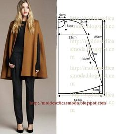 Cape pattern and sewing: 10 thousand images found in Yandex. Coat Patterns, Clothing Patterns, Dress Patterns, Sewing Patterns, Diy Clothing, Sewing Clothes, Fashion Sewing, Diy Fashion, Costura Fashion