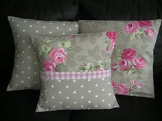 Matching set of 3 Cushion covers Clarke & Clarke fabrics, Pink roses and Taupe spot, shabby chic.. £19.95, via Etsy.