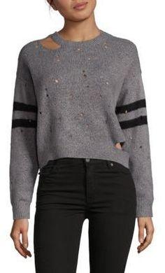 Saks Fifth Avenue Distressed Long Sleeve Sweater