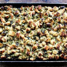Sheet Pan Stuffing with Brussels Sprouts and Pancetta Recipe on Food52 recipe on Food52
