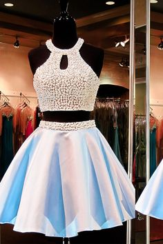 Elegant Two Piece Prom/Homecoming Dress Light Blue Short Backless Satin Beading