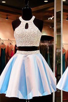 Elegant Two Piece Prom/Homecoming Dress Light Blue Short Backless Satin Beading