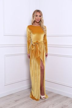 Yellow Velvet Maxi Dress Slit Long Sleeves