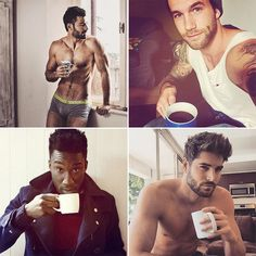 These 26 Guys Drinking Coffee Are Hotter Than Your Morning Joe ❤ liked on Polyvore featuring faces and guys