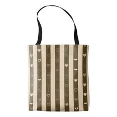Donkey Brown Stripes Modern Heart Pattern Tote Bag - girly gift gifts ideas cyo diy special unique