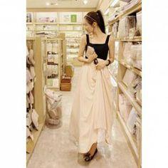 $15.74 Stylish Cotton Splicing Chiffon High Waist Long Dress For Women