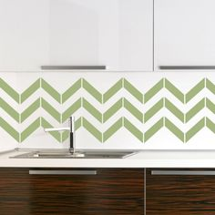 Modern Green And White Color Scheme Vinyl Wallpaper Kitchen Backsplash With Amazing Zig Zag Pattern Backsplash Style Inspirations And Modern Stainless Steel Sink On The White Wood Base Cabinet Top Beautiful Vinyl Wallpaper Kitchen Backsplash for Decoration Ideas Decorations