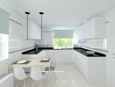 Modelo Line L Blanco Seda Mate | Encimera Granito Negro