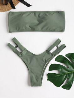 Strappy Back Bandeau Bikini Set – Dark Sea Green S – Fashion Outfits Swimwear Model, Trendy Swimwear, Cute Swimsuits, Cute Bikinis, Swimwear Fashion, Women Swimsuits, Bikini Bandeau, Bikini Swimwear, Bikinis Lindos
