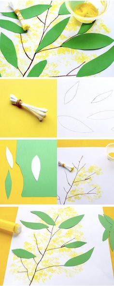 How to Make a Wattle flower Painting Australia Day is coming up soon, so I thought we would make some wattle paintings. We used a bunch of cotton buds dipped in yellow paint to make the wattle flowers. What you Need: Cotton buds Yello… Craft Activities For Kids, Preschool Crafts, Kids Crafts, Preschool Classroom, Playgroup Activities, Multicultural Activities, Kindergarten, Motor Activities, Toddler Activities