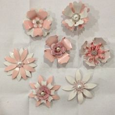 RESERVED for Wendy Small Metal Enamel Flower by AliciasOddities, $10.00