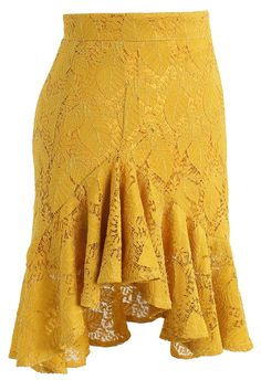 Paradisiacal Asymmetric Frill Hem Lace Skirt in Mustard - Retro, Indie and Unique Fashion Couples African Outfits, Skirt Patterns Sewing, Unique Fashion, Womens Fashion, Dance Dresses, Short Skirts, African Fashion, Lace Skirt, Fashion Dresses