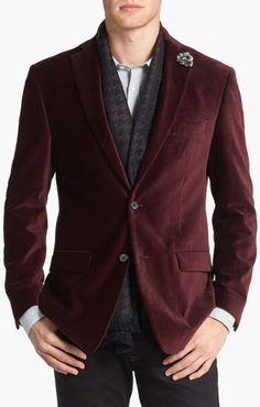 Michael Kors Trim Fit Velvet Blazer in Purple for Men (Burgundy) - Lyst........I'm.....Ron..Burgundy??
