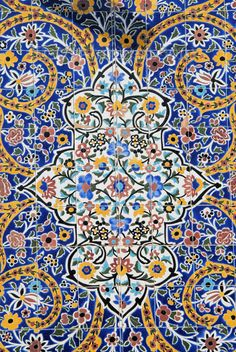 Beautiful tile work within the bazaar mosque of Tehran, Iran. Photography by the talented M. Persian Architecture, Art And Architecture, Tile Art, Mosaic Art, Arabesque, Tile Patterns, Pattern Art, Pattern Ideas, Islamic Tiles