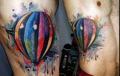 Watercolor hot air balloon tattoo Obsessed with watercolor tattoos!