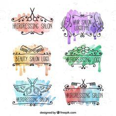 Watercolor Hairdressing Salin Logotypes Free Vector
