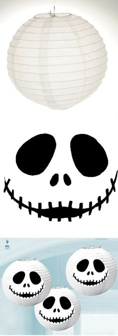 Buy white paper lanterns at any party store. Print out Jack Skellington pumpkin carving pattern (also pinned here). Cut out pattern. Tape or glue to lanterns. Instant Jack Skellington paper lanterns! (You can also light them up with string lantern lights).