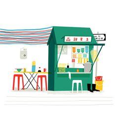 Elgin Street Dai Pai Dong ( previously Man Yuen) Hong Kong by Tania Willis for… Art And Illustration, Dai Pai Dong, Thick Cardboard, Food Stall, Paper Size, Vivid Colors, Hong Kong, Street Food, Prints