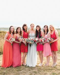 I absolutely am over the moon in love with this color scheme - LOVE the shades of the bridesmaid dresses - heart heart hearts galore!
