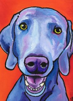 5x7 PRINT of my original weimaraner painting by StudioSRV on Etsy, $15.00
