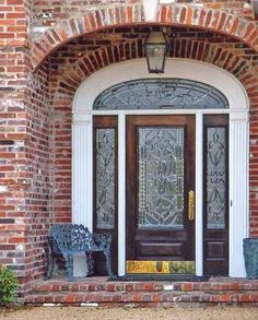 Doors by Design offers a wide selection of custom wood doors with leaded glass. We work with each customer to create the exact door for their dreams. Entry Door With Sidelights, Front Door Colors, Leaded Glass Door, Entry Foyer, Wood Doors, Old Wood Doors, Dutch Doors Diy, Leaded Glass, Wooden Garage