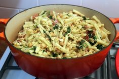 Pasta with Chickpeas, Bacon and Spinach.