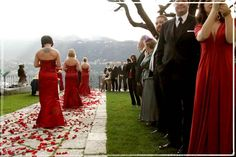 Red bridal party dresses, red petal walkway, black suits and red, white or black ties