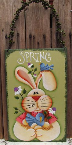 Spring Time Bunny and Birds Metal Sign by PaintingByEileen on Etsy