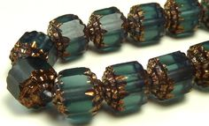 6mm Montana Blue and Gold Matte Cathedral Czech Glass Beads - 7 Inch Strand (25) - Faceted, Fire Polished, Barrel Beads - BD3