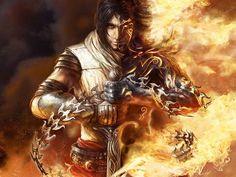 1600x1200 Wallpaper prince of persia, arm, fire, body, magic