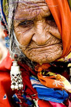 Elderly Indian Tribal Lady Or Lambadi In Traditional Clothing