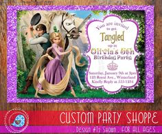 PRINTABLE Tangled Invitation Rapunzel Invitation Disney Princess