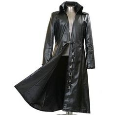 Men's Black Faux Leather Long Black Trench Coat New Arrival ($170) ❤ liked on Polyvore featuring men's fashion, men's clothing, men's outerwear, men's coats, mens long trench coat, mens trench coat, mens trenchcoat and mens coats