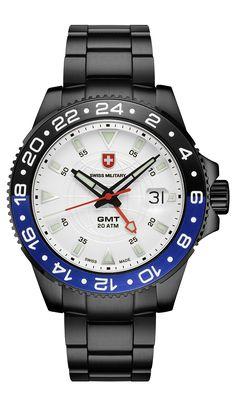 Swiss Military GMT, Swiss Made Ronda cal. Stainless Steel Bracelet, Stainless Steel Case, Atm, Sport Watches, Vintage Watches, Rolex Watches, Bracelet Watch, Military, Quartz