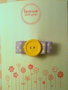 Yellow and purple button barrette. $4.00, via Etsy. Would be cute to make