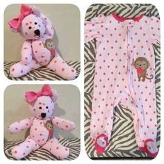 Sewing Teddy Bear Turn your favorite baby sleeper or clothes into a keepsake bear. - Learn how to make a memory bear with Joy Kelley's tutorial Fabric Crafts, Sewing Crafts, Upcycled Crafts, Repurposed, Used Baby Clothes, Diy Clothes, Babies Clothes, Sewing Clothes, Sewing Toys