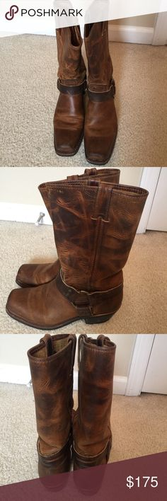 Frye 12R Harness Boots Frye 12R Harness Boots.  Style 77300DBN.  Size 7 1/2 M. Rarely worn.  In Mint condition! Frye Shoes Heeled Boots